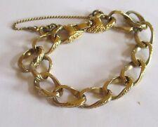 MONET signed vintage gold tone chain link patterned bracelet safety chain VGUC