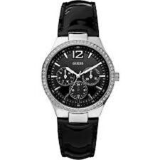 New AUTHENTIC  Guess woman's  W11586L1 black leather ,  black dial watch , NWT
