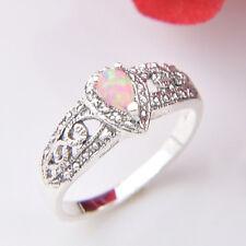 Big Promotion 2Pcs 1 Lot Antique Drop Fire Ruby Opal Silver Rings Size 7 8 9