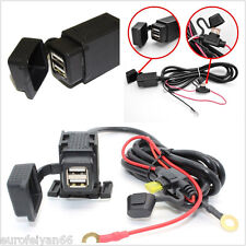 12V 2.1A Dual USB Motorcycles Motorbikes Cellphone GPS Power Supply Charger Kit