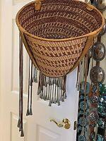 """Vintage Apache Burden Basket.  1973 purchase. 17""""w 15""""sides. Leather rim. hm con"""