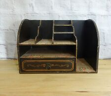 Vintage Wooden Desk Top Organiser with Drawer, Chinese Style Newspaper Lined