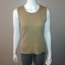 Liz Claiborne Sweater Vest Size M Medium Womens Sleeveless Shirt Top Metallic