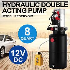 12V Double Effet Unité Pompe Hydraulique 8 Litres Benne Puissance éLectrique