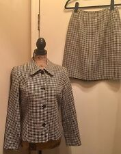 Gorgeous Talbot's 2-pc Womens Suit - Black White Houndstooth - Wool Blend (6P)