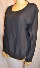 Lacoste Black Long Sleeve Silk Blend Shirt top blouse size M 44 exc