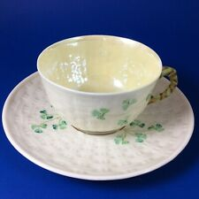 Belleek Shamrock Basketweave Flat Tea Cup And Saucer - 6th Green Mark