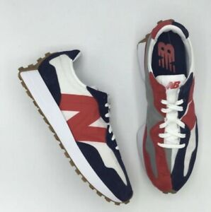 DS MENS NEW BALANCE 327 MS327RP GRAY WHITE RED NAVY RUN SHOES SZ 9 Authentic