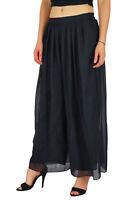 Bimba Women Long Flared Wide Leg Palazzo Pleated Skirt Style Black Pants