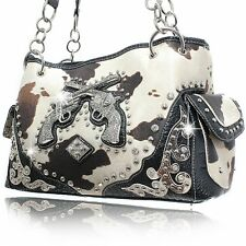 Black Trim with Brown & White Cowprint Two Gun Studded Western Purse