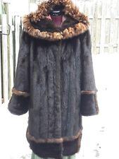 Stylish Saga Mink Fur Coat/Jacket w/Sable trim and Hood .Class of chinchilla XL