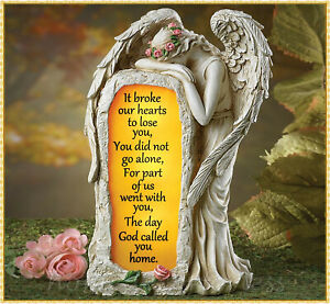Solar Crying Angel Memorial Garden Stone Statue Grave Cemetery Beloved Departed