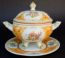 VTG Bassano Capodmonte Italy Hand Painted Porcelain LIDDED TUREEN AND UNDERPLATE