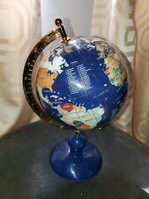 ORIGINAL Lapis Lazuli MACHELI TABLE TOP INLAID SEMIPRECIOUS GEMSTONE WORLD GLOBE