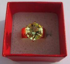 bague bijou vintage plaqué or sertie cristal péridot bel éclat taille 52