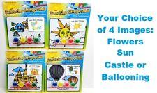 Kids Suncatcher Set Arts Crafts Fun Paint Balloon Flowers Castle Sun New