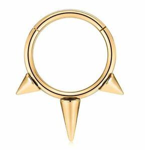 PAIR Gold 16G 3-Spikes Ear Hoop Tragus Helix Steel Earrings Hinged Clicker Rings