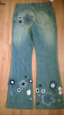 BNWT GAP jeans denim girl 14 years embroidered floral flared blue adjustable