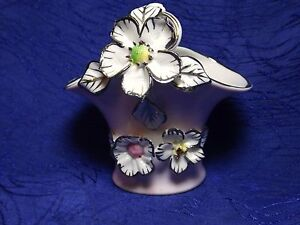 Pink Porcelain Basket With Flowers