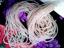 Vtg 1 HANK PALE PINK AB TRANSPARENT LUSTER GLASS SEED BEADS MATSUNO #062112w