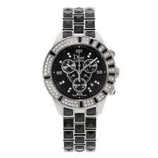 Christian Dior CHRISTAL Diamantes Negro Reloj unisex de acero de cerámica CD11431CM001