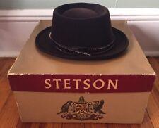 4c92eabf39207 Stetson 3X Beaver Quality Brown Felt Fedora Hat Size 7   Original Box