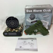 Gun Pop Up Target Alarm Clock Shooting LCD Screen Green Camo Recordable Ringtone