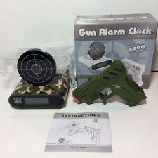 Gun Pop Up Target Alarm Clock Shooting LCD Screen Green Camo Recordable Ringtone