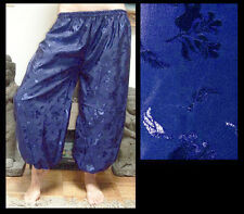 Harem Pants Belly Dance Dark Blue w/ Embossed Floral Design