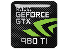 "nVidia GeForce GTX 980Ti 1""x1"" Chrome Domed Case Badge / Sticker Logo 980 Ti"