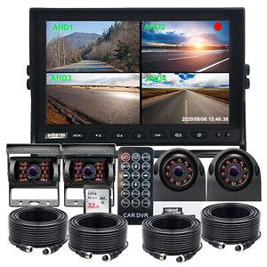 "10.1"" Quad Monitor DVR Max 256GB 4x AHD 1080P Side Rear View Camera 4 PIN Truck"