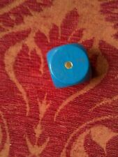 A fabulously large deep blue coloured vintage wooden dice.