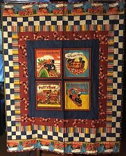 Handmade Little Engine that Could, Puff n Toot, Chocolate Train baby lap quilt