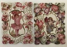 1910s Unused Valentine Cards Cherub Cupid Girl Antique 6 1/2-inch