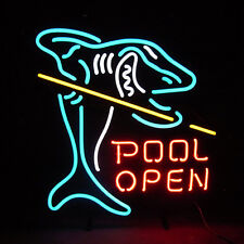 "New Pool Shark Billiards Game Room Open Neon Light Sign 17""x14"""