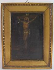 Jesus am Kreuz - antikes Ölgemälde auf Leinwand um 1800