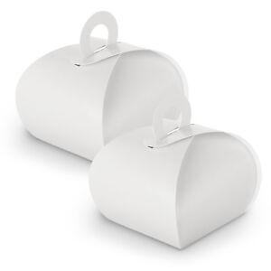 10x itenga Geschenkbox mit Griff weiß Gastgeschenk  Taufe Kommunion Hochzeit