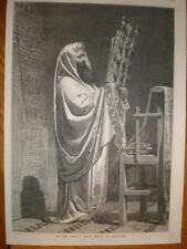 High Priest at nablus reading Pentateuch 1869 print