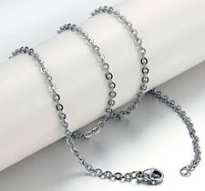 5pcs Women Silver Stainless Steel Good Quality O link chain necklace 3mm 20''