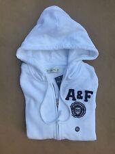 NWT Abercrombie & Fitch A & F Women Full Zip Logo Hoodie Sweatshirt XS White