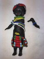"""Vtg 1940's England Plastic Black Tribal Seed Beads Leather Skirt Girl Doll 7"""""""