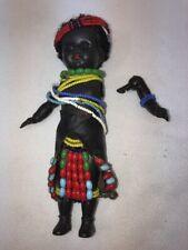 Vtg 1940's England Plastic Black Tribal Seed Beads Leather Skirt Girl Doll 7�