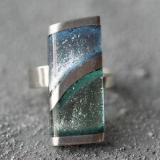 NUOVO Anello CONCHIGLIA CAPIZ colore Ocean Mist/blu/argento dimensioni regolabili Anello dito