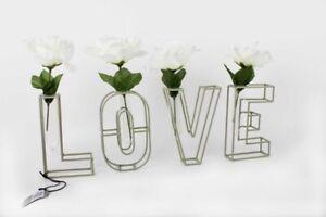 Unique Set of 4/5 Metal Clear Glass LOVE Letters Vases Valentines Floral Wedding