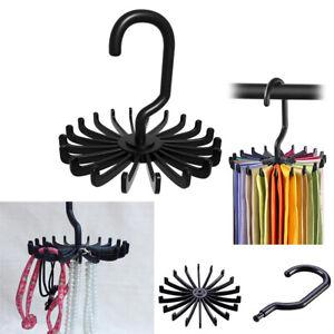 360° Rotating Wardrobe Scarf Rack Storage Belt Organiser Holder Tie Hanger Stand