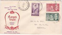 AFD)1686 Australia 1954 Royal Visit red & purple cachet FDC