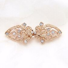 Vintage Style Gold Rhinestone Crystal Heart Closure Hook and Eye Clasp