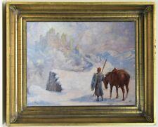 Antique 1928 Original Russian USSR German painting oil on canvas landscape