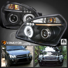 For 2005-2009 Tucson Halo LED DRL Projector Headlights Black Left+Right