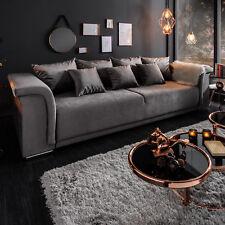 Elegantes Big XL Sofa BELLINA hellgrau Samt Schlaffunktion Couch mit Federkern